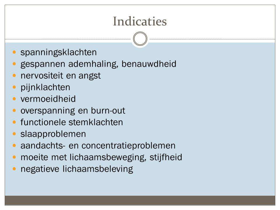 Indicaties spanningsklachten gespannen ademhaling, benauwdheid