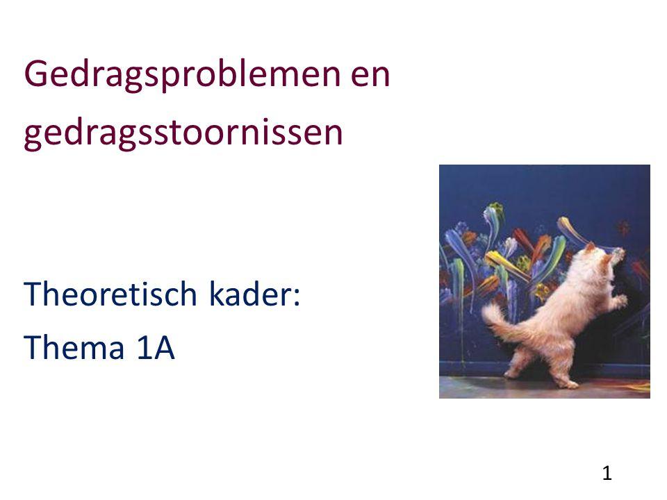 Gedragsproblemen en gedragsstoornissen Theoretisch kader: Thema 1A 1