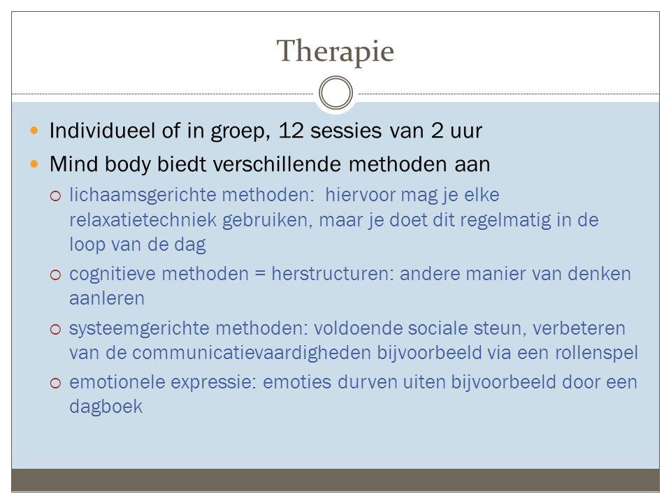 Therapie Individueel of in groep, 12 sessies van 2 uur