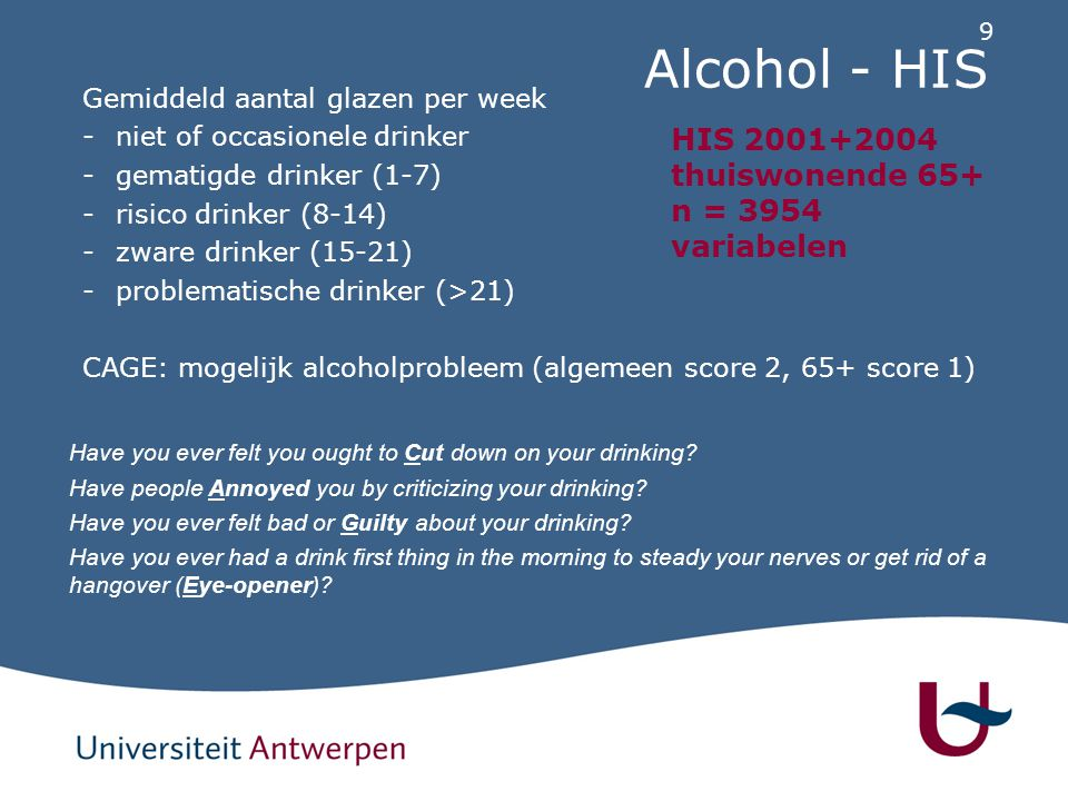 Alcohol - HIS HIS 2001+2004 thuiswonende 65+ n = 3954 variabelen