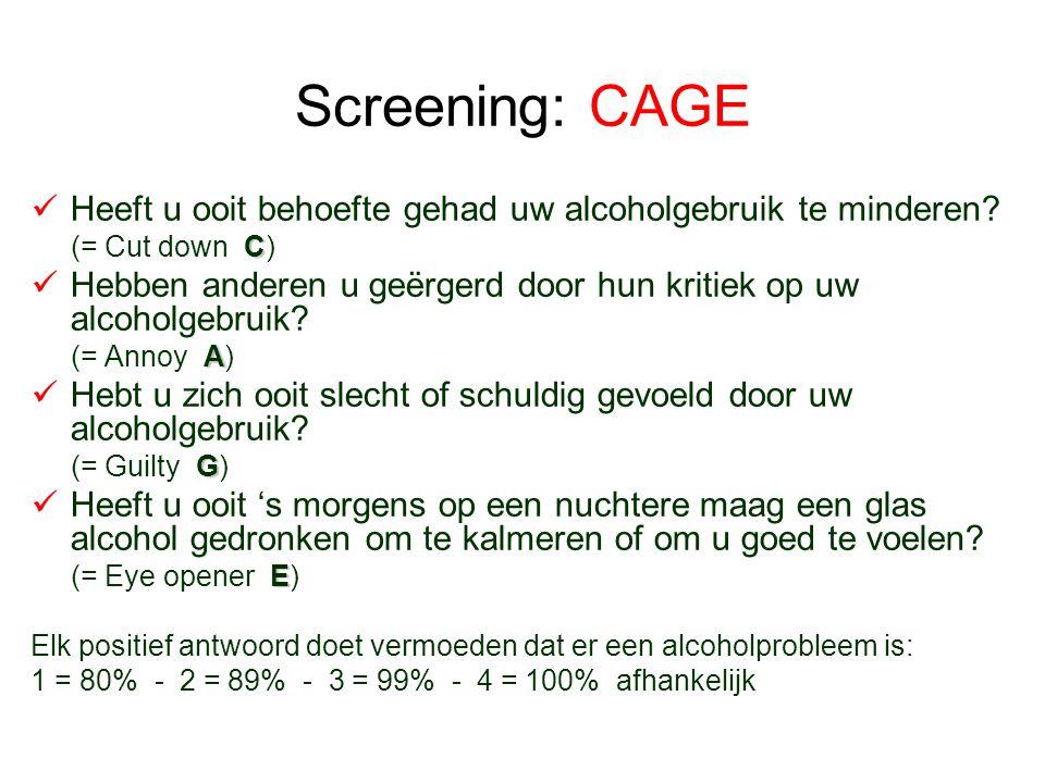 Screening: CAGE Heeft u ooit behoefte gehad uw alcoholgebruik te minderen (= Cut down C)