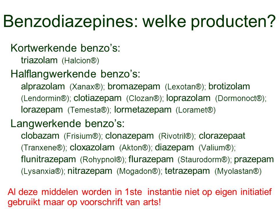 Benzodiazepines: welke producten