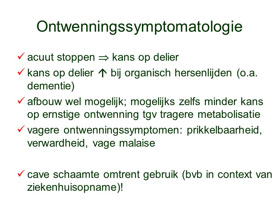 Ontwenningssymptomatologie