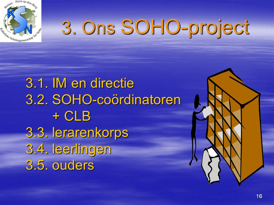 3. Ons SOHO-project 3.1. IM en directie 3.2. SOHO-coördinatoren + CLB