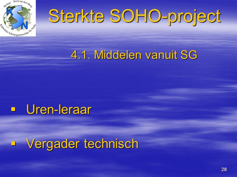 Sterkte SOHO-project 4.1. Middelen vanuit SG