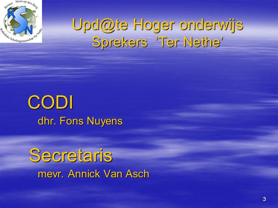 Upd@te Hoger onderwijs Sprekers 'Ter Nethe'