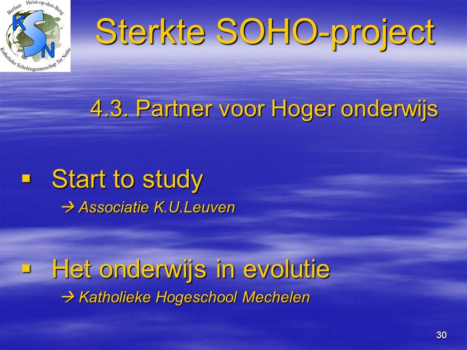 Sterkte SOHO-project 4.3. Partner voor Hoger onderwijs