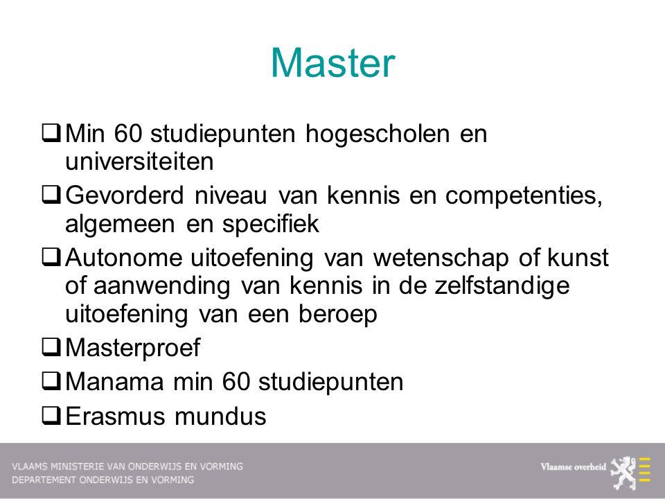Master Min 60 studiepunten hogescholen en universiteiten