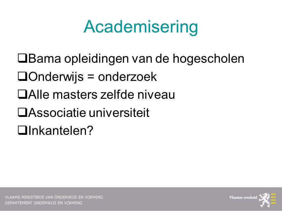 Academisering Bama opleidingen van de hogescholen