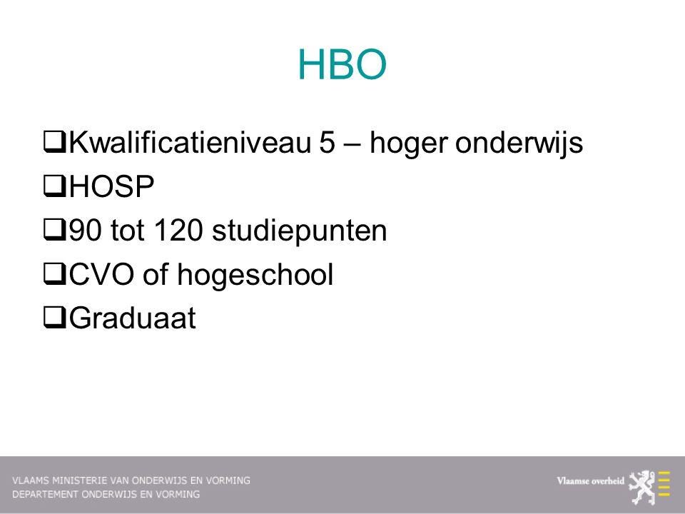 HBO Kwalificatieniveau 5 – hoger onderwijs HOSP