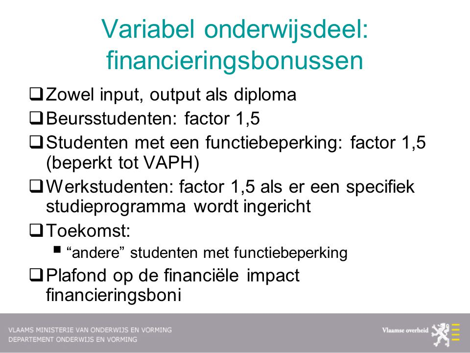 Variabel onderwijsdeel: financieringsbonussen