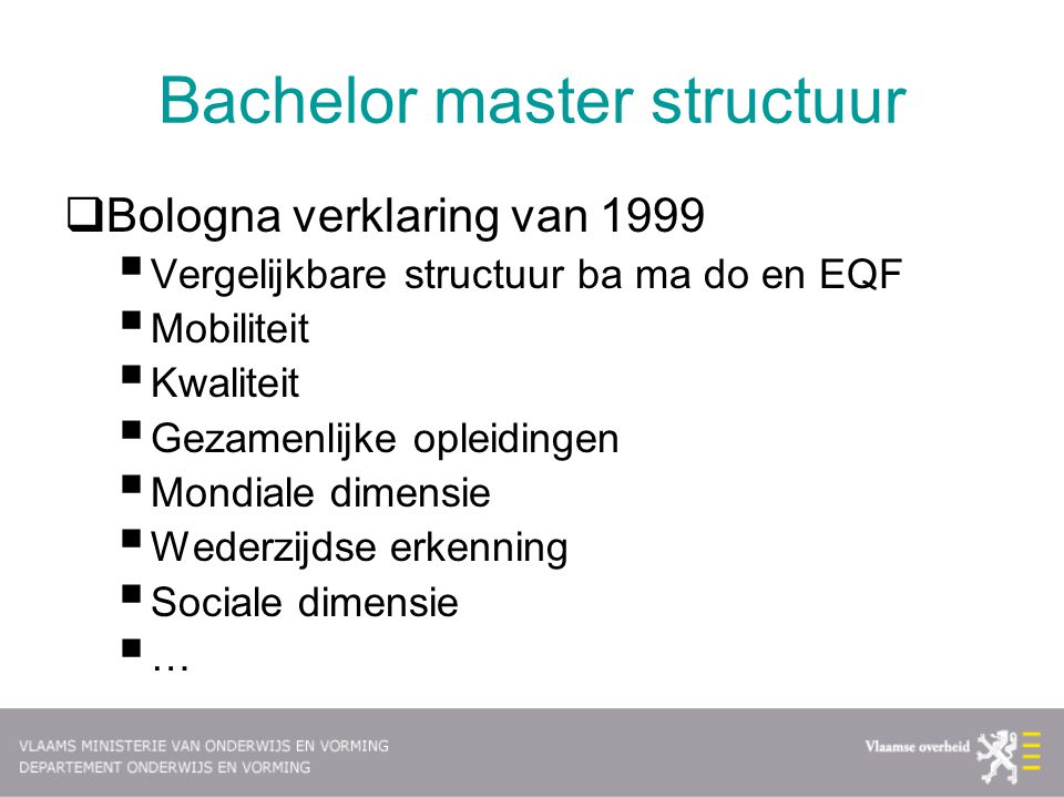 Bachelor master structuur