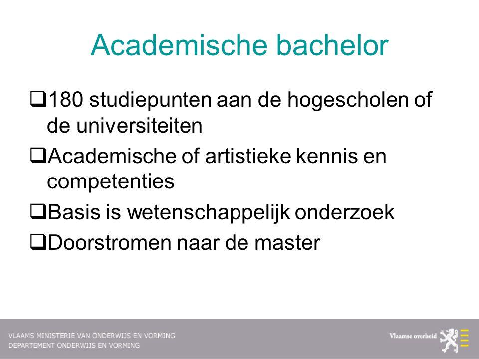 Academische bachelor 180 studiepunten aan de hogescholen of de universiteiten. Academische of artistieke kennis en competenties.