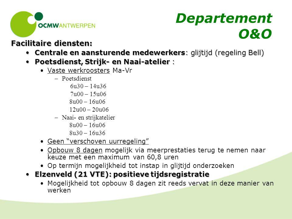 Departement O&O Facilitaire diensten: