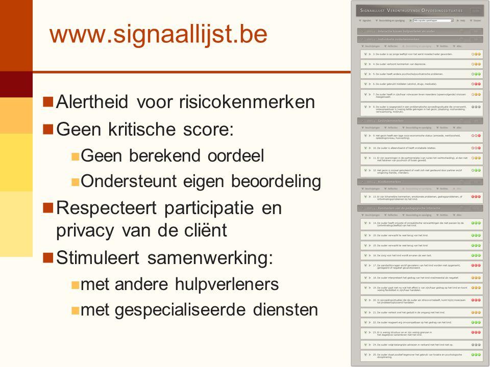 www.signaallijst.be Alertheid voor risicokenmerken