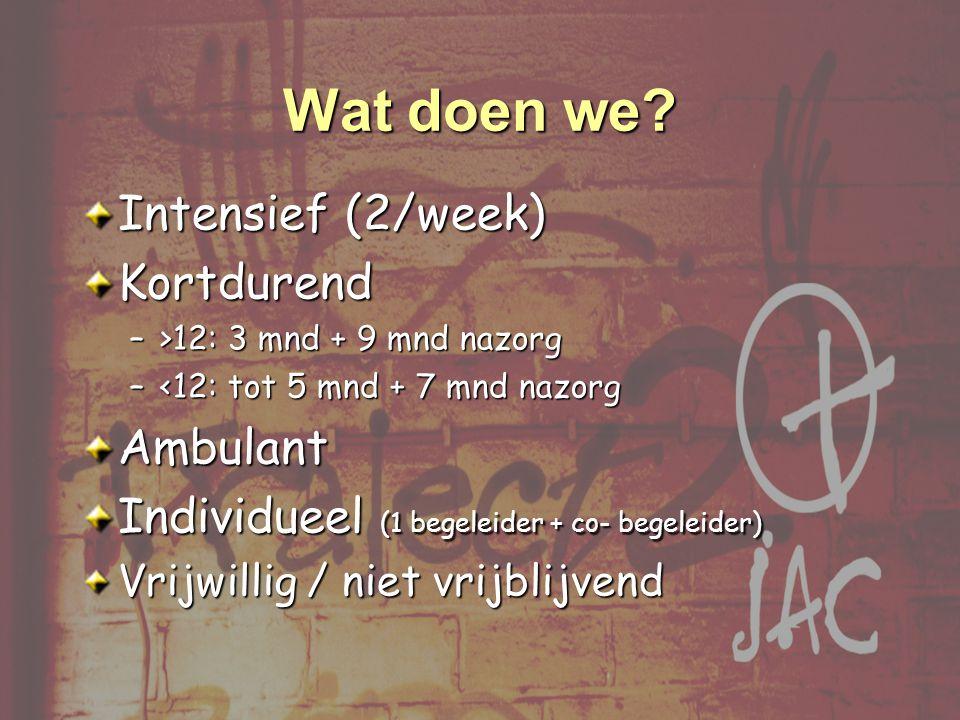 Wat doen we Intensief (2/week) Kortdurend Ambulant