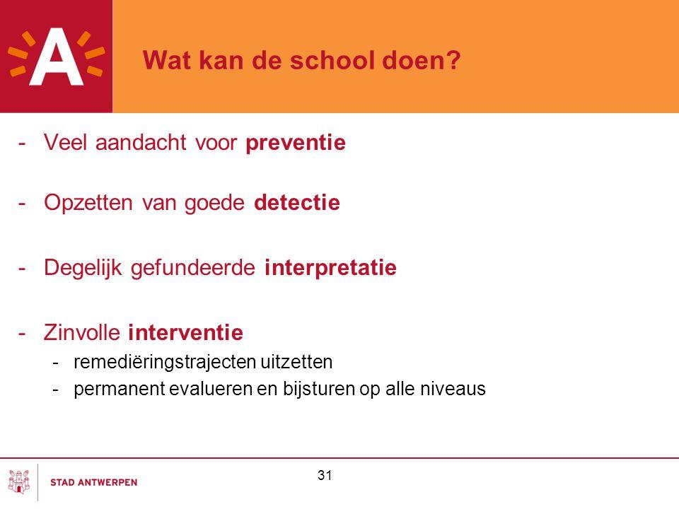 Wat kan de school doen Veel aandacht voor preventie
