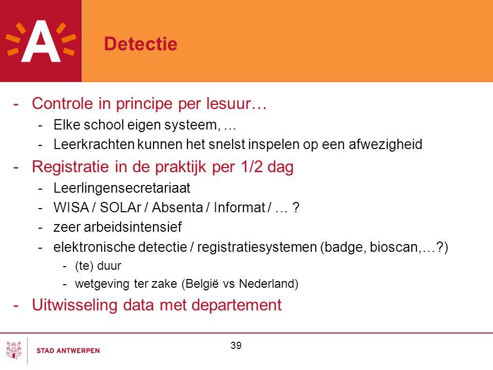 Detectie Controle in principe per lesuur…