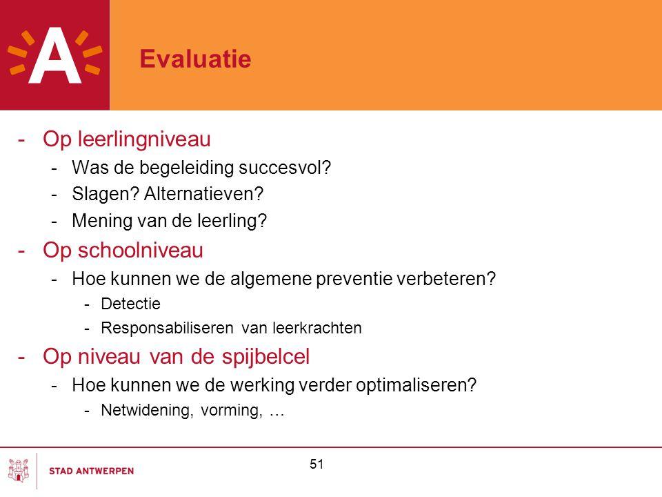 Evaluatie Op leerlingniveau Op schoolniveau