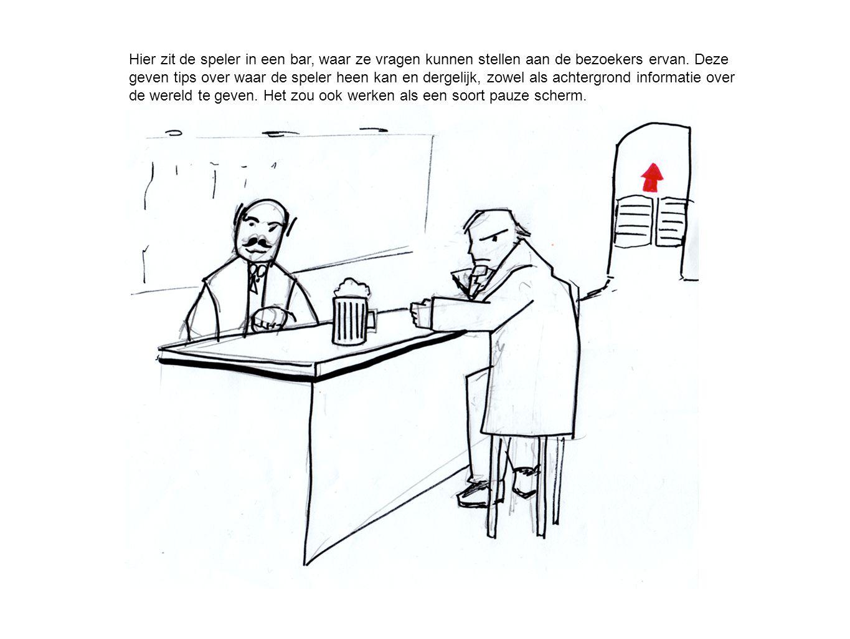 Hier zit de speler in een bar, waar ze vragen kunnen stellen aan de bezoekers ervan.