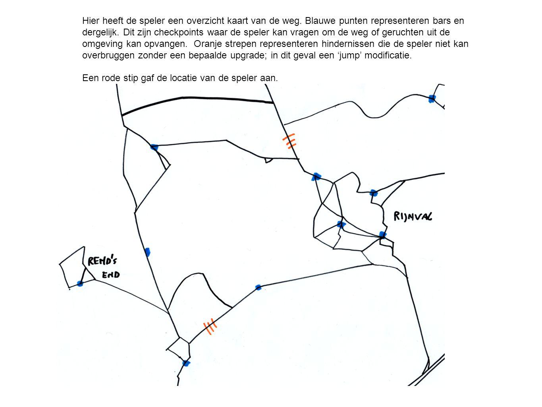 Hier heeft de speler een overzicht kaart van de weg