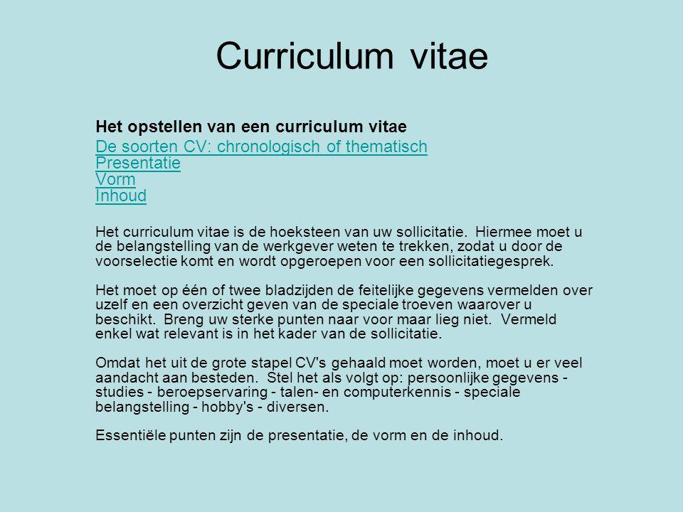 Curriculum vitae Het opstellen van een curriculum vitae