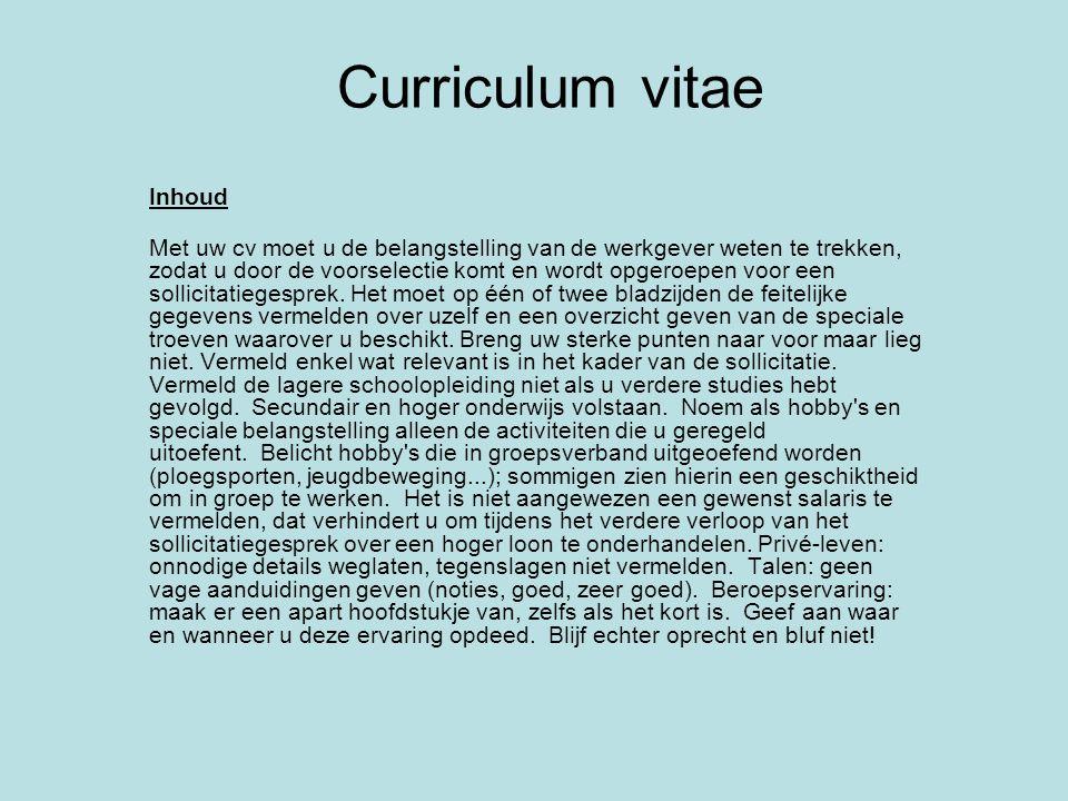 Curriculum vitae Inhoud