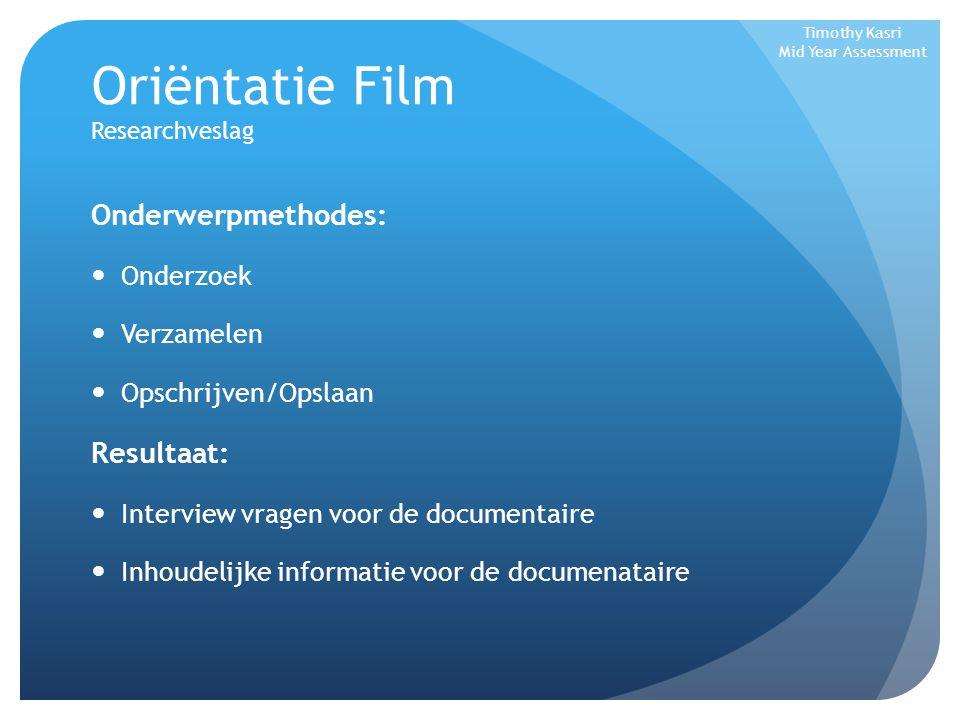 Oriëntatie Film Researchveslag