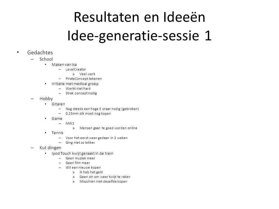 Resultaten en Ideeën Idee-generatie-sessie 1