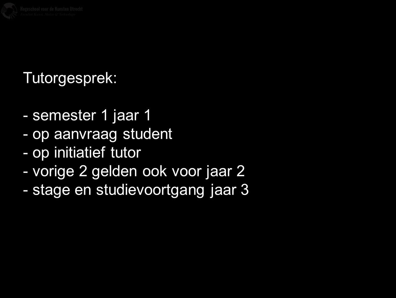 Tutorgesprek: - semester 1 jaar 1. - op aanvraag student. - op initiatief tutor. - vorige 2 gelden ook voor jaar 2.