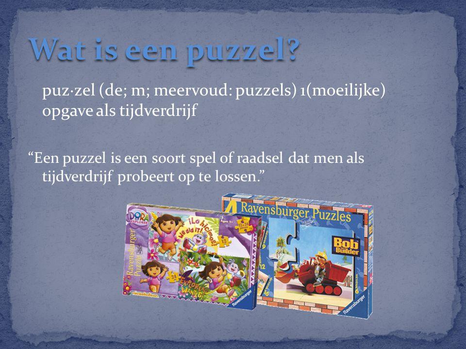 Wat is een puzzel puz·zel (de; m; meervoud: puzzels) 1(moeilijke) opgave als tijdverdrijf.