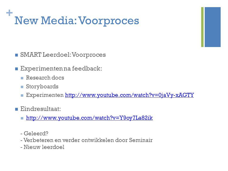 New Media: Voorproces SMART Leerdoel: Voorproces