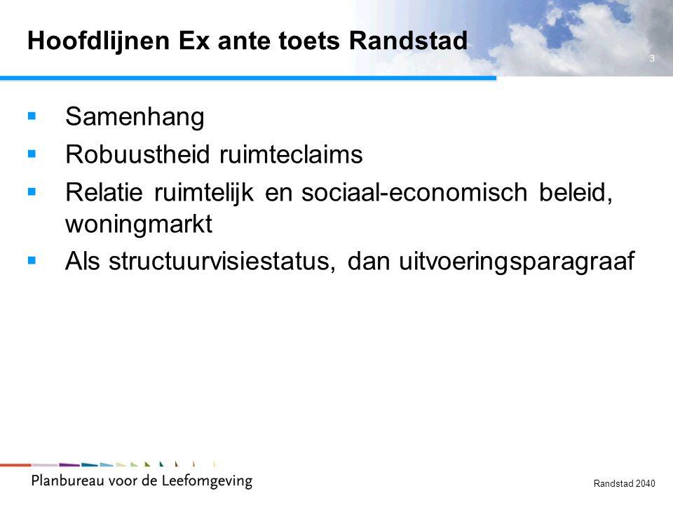 Hoofdlijnen Ex ante toets Randstad
