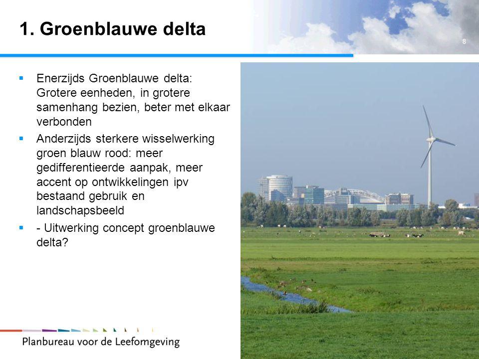 1. Groenblauwe delta Enerzijds Groenblauwe delta: Grotere eenheden, in grotere samenhang bezien, beter met elkaar verbonden.
