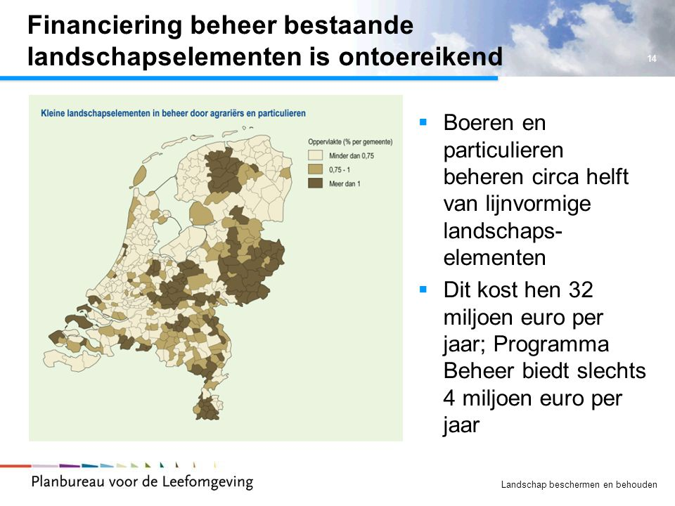 Financiering beheer bestaande landschapselementen is ontoereikend