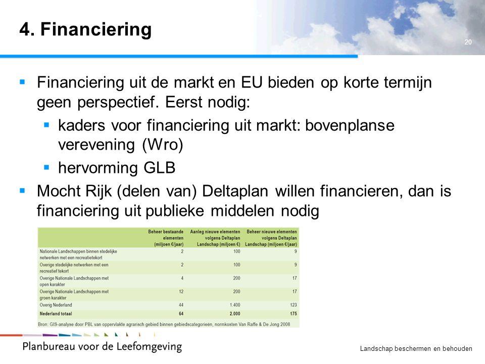 4. Financiering Financiering uit de markt en EU bieden op korte termijn geen perspectief. Eerst nodig: