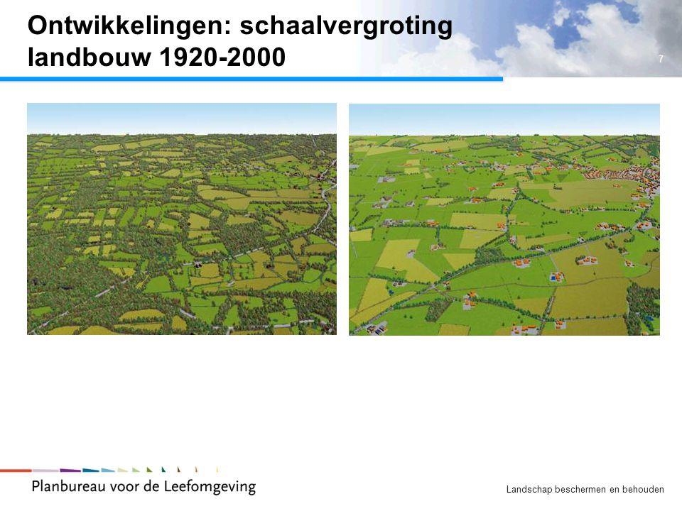 Ontwikkelingen: schaalvergroting landbouw 1920-2000