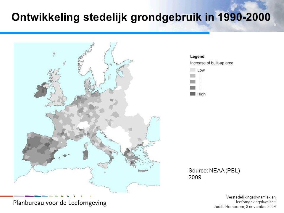 Ontwikkeling stedelijk grondgebruik in 1990-2000