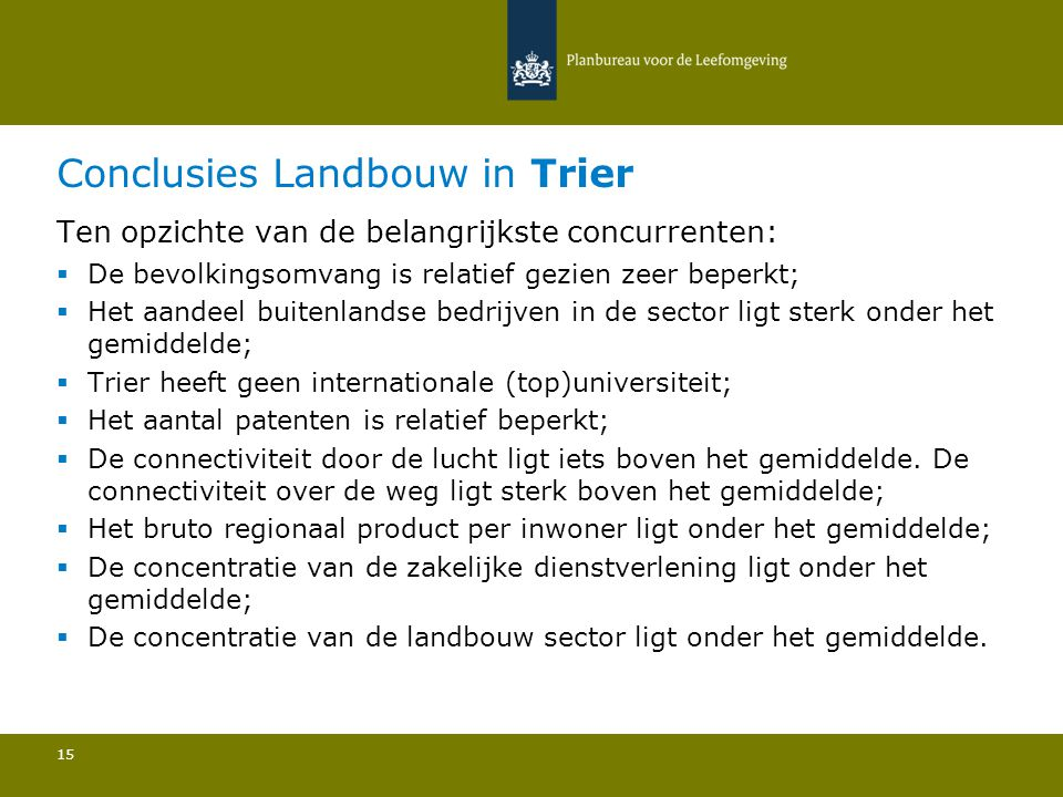Conclusies Landbouw in Trier