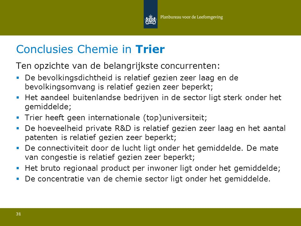 Conclusies Chemie in Trier