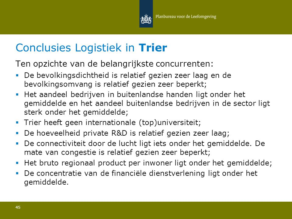 Conclusies Logistiek in Trier