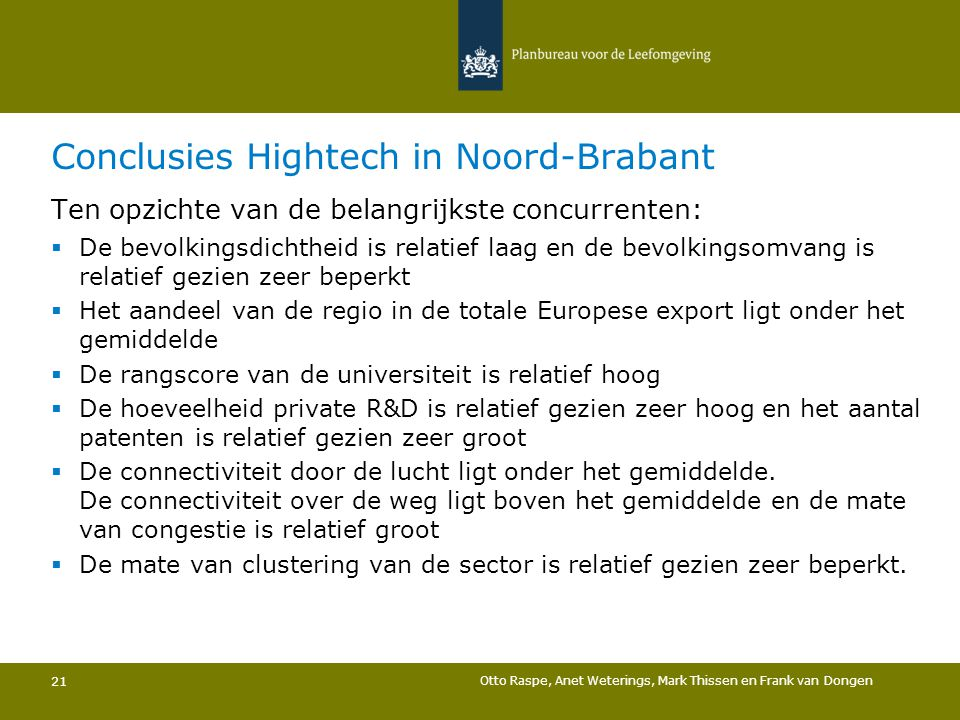 Conclusies Hightech in Noord-Brabant