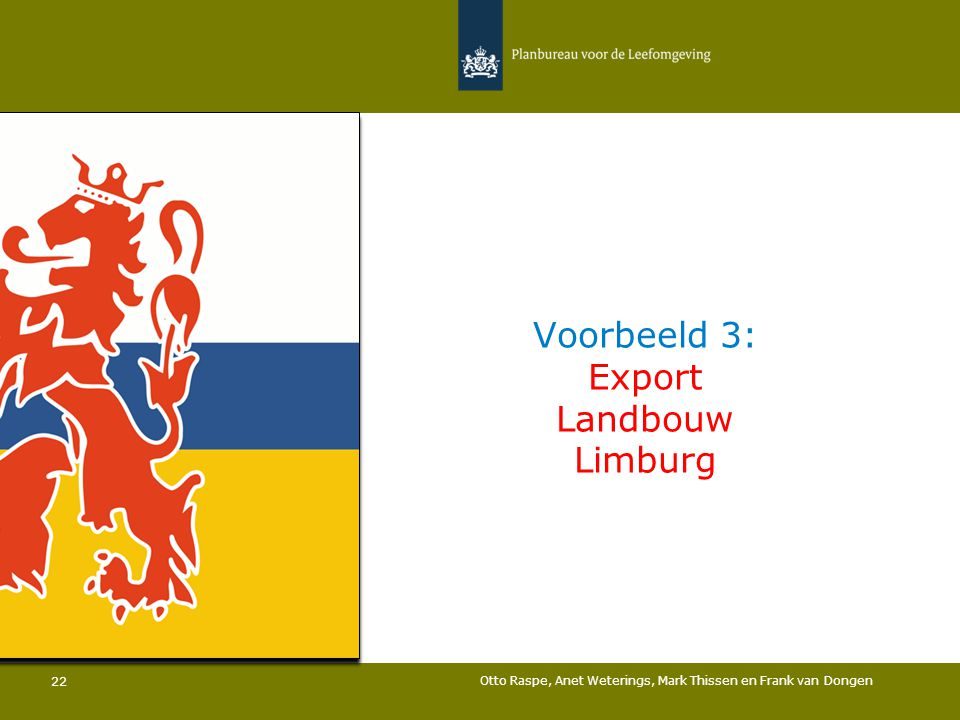 Voorbeeld 3: Export Landbouw Limburg