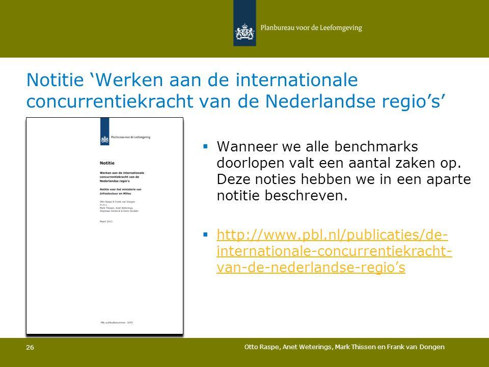 Notitie 'Werken aan de internationale concurrentiekracht van de Nederlandse regio's'