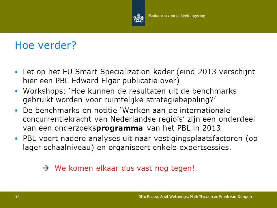 Hoe verder Let op het EU Smart Specialization kader (eind 2013 verschijnt hier een PBL Edward Elgar publicatie over)