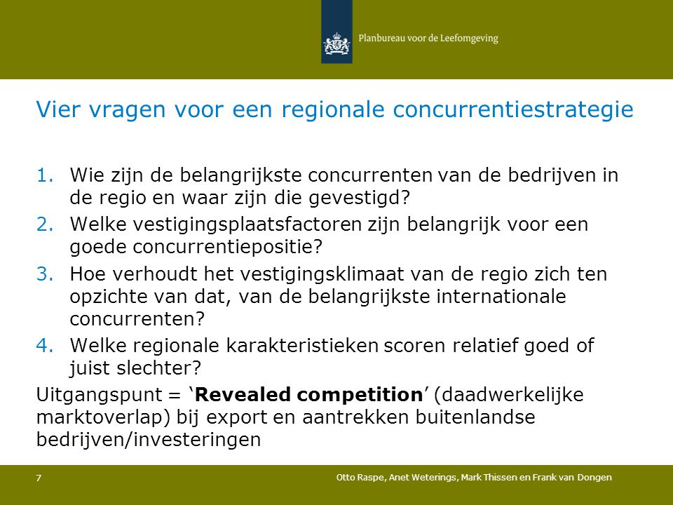 Vier vragen voor een regionale concurrentiestrategie