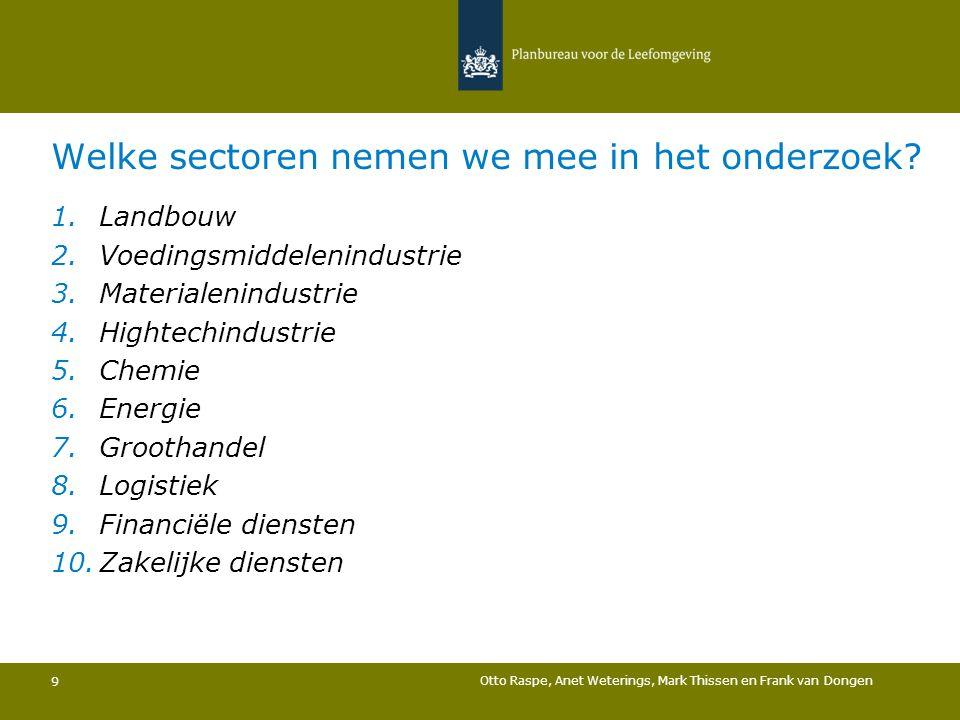 Welke sectoren nemen we mee in het onderzoek