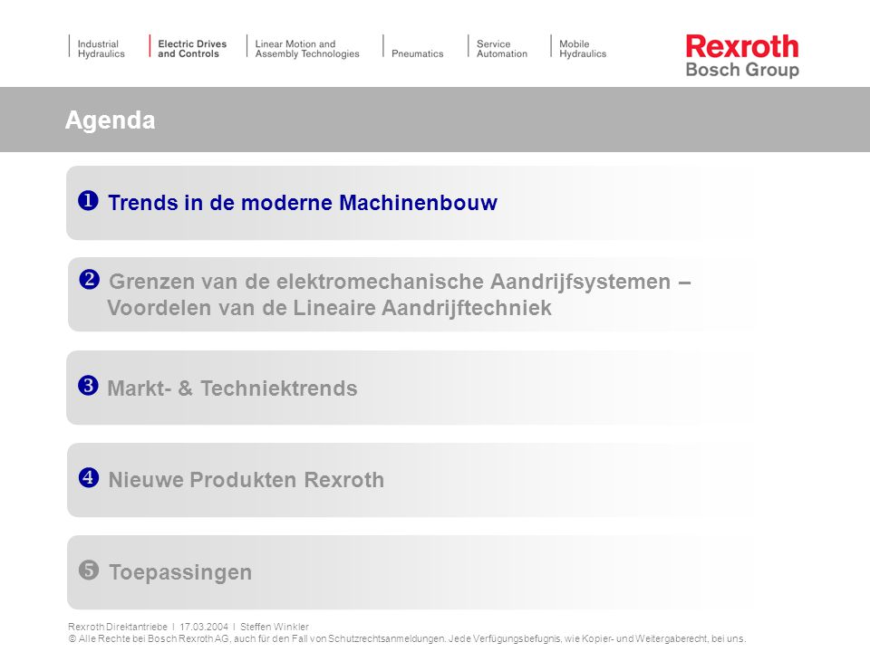 Agenda Trends in de moderne Machinenbouw