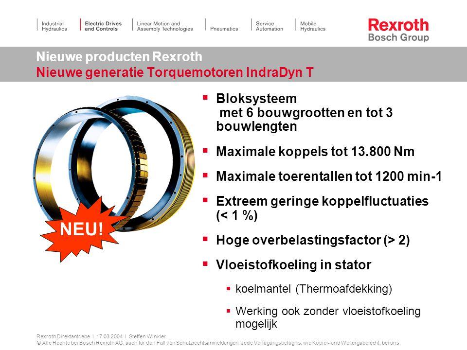 Nieuwe producten Rexroth Nieuwe generatie Torquemotoren IndraDyn T