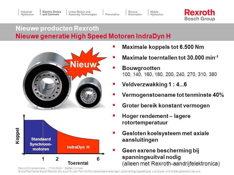 Nieuwe producten Rexroth Nieuwe generatie High Speed Motoren IndraDyn H